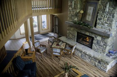 Relaxing Fireplace and Lounge Area at Resort